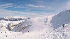 Ski?end op de berg de Pyreneeën in Spanje, Masella stock footage