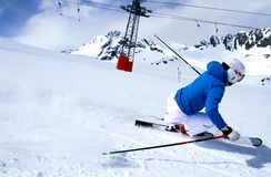 Ski?end in Solden, Oostenrijk. Stock Afbeeldingen