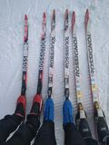 Ski?ende familie in het hele land royalty-vrije stock fotografie