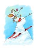 Ski?ende sneeuwman stock illustratie