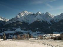 Ski in Engadin in werking die wordt gesteld die Royalty-vrije Stock Afbeelding