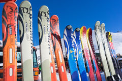 Ski equipment at Falakro ski center, in Greece. Visitors can ren Stock Images