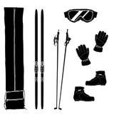 Ski equipment icons. Silhouettes of ski equipment icons. Black and white vector illustration Stock Photos