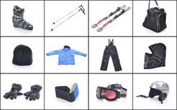 Ski equipment. Necessary things for skiing. Royalty Free Stock Image