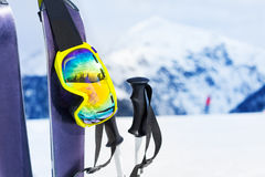 Ski equipment with skies mask and polles Stock Image