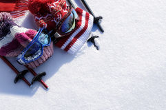 Ski equipment snow background, skiing holiday or vacation, copy space Royalty Free Stock Image