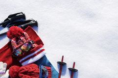 Ski equipment snow background, skiing vacation, copy space Stock Image