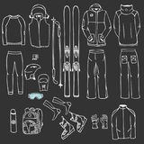 Ski equipment in vector, ski kit infographic set, ski vector doo vector illustration