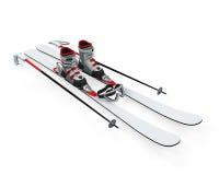 Ski Equipment. On white background. 3D render Stock Photos