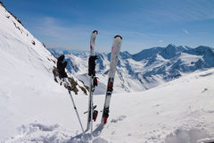 Ski equipments on snow slope Royalty Free Stock Photography