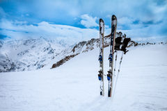 Ski equipments on snow slope Stock Photos
