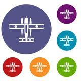 Ski equipped airplane icons set. In flat circle reb, blue and green color for web Royalty Free Stock Photo