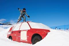 Ski extrême en stationnement de ski Photos libres de droits