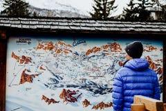 Ski fahren in Cortina D ` Ampezzo in den Dolomit Stockfoto