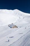 Ski fahren in den Dolomit in Italien lizenzfreies stockbild