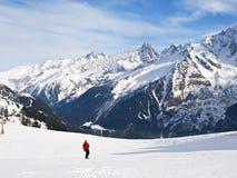 Ski fahren in den französischen Alpen Lizenzfreie Stockfotos