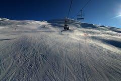 Ski fahren in den Schweizer Alpen Stockfotografie