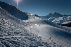 Ski fahren in den Schweizer Alpen Stockfotos