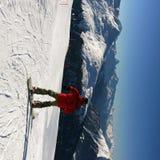 Ski fahren in den Schweizer Alpen Lizenzfreies Stockfoto