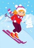 Ski fahren im Hintergrund von Bergen Stockbild