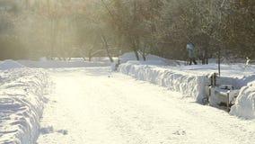 Ski fahren im Park stock footage