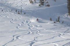 Ski fahren im Puder Stockfotos