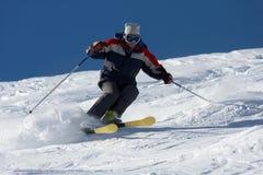 Ski fahren im Puderschnee Lizenzfreies Stockbild
