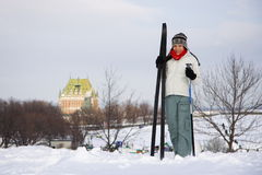 Ski fahren in Quebec City Stockfotos