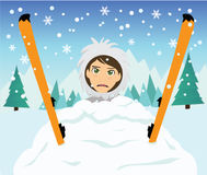 Snow Skiing fall action Royalty Free Stock Photography