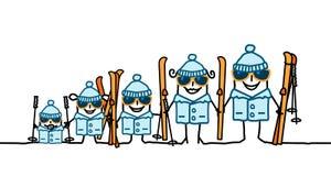 Ski Family. Hand drawn cartoon characters Royalty Free Stock Photography
