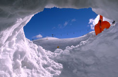 Ski field from the snow hole Royalty Free Stock Photo