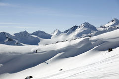 Ski freeride in high mountains Royalty Free Stock Photos