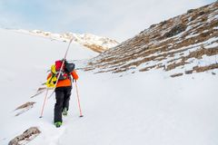 The ski freerider climbs the slope into deep snow powder with the equipment on the back fixed on the backpack. The concept of winter extreme sports Royalty Free Stock Photo
