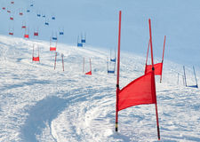 Ski gates with parallel slalom. Ski gates with flag red and blue parallel slalom Royalty Free Stock Image