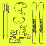 Ski gear vector line icon set. Royalty Free Stock Photography