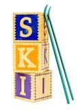 SKI getrenntes Konzept Stockfoto