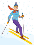 Ski girl funny retro card Stock Photography