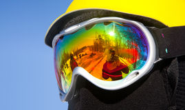 Ski glasses. Beautiful reflection of the ski glasses Stock Images