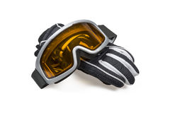 Ski gloves with goggles royalty free stock image