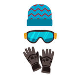 Ski gloves and skiing goggles vector illustration. Royalty Free Stock Photo