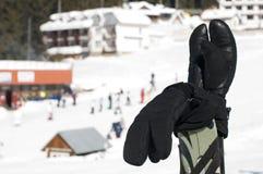 Ski gloves and sticks Stock Photos