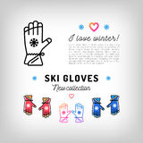 Ski gloves thin line icons, winter sports mittens, sport flyer Royalty Free Stock Photography