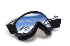 Ski goggles. With reflection of mountains. Isolated on white background Stock Image