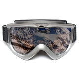 Ski goggles. On isolated white background with mountains reflected in lens - protect against wind, cold and UV Stock Image