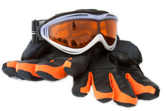 Ski goggles  and gloves Stock Photos