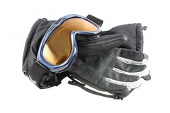 Ski goggles and gloves. Ski goggles and winter gloves on white background Royalty Free Stock Photo