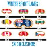 Ski goggles icons Stock Image