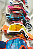 Ski goggles mask on stand in shop Royalty Free Stock Photos