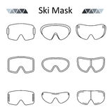 Ski goggles outline set vector icon. Stock Photo