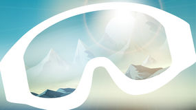 Ski Goggles Reflecting the Winter Mountains on Blurred Backgroun stock illustration